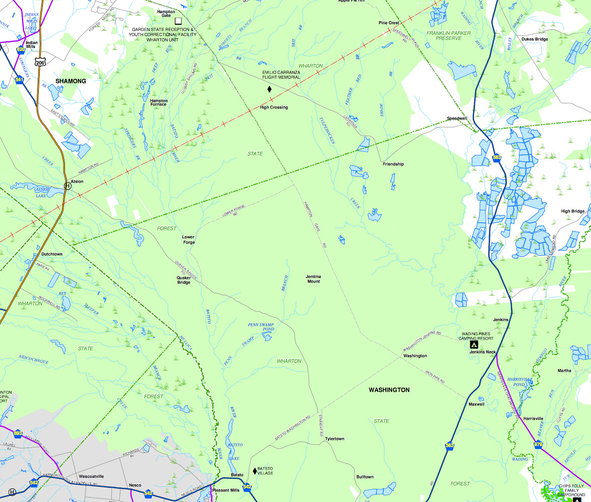 but that does not show the batona camp or it's trails nj website says onlylower forge and mullica river can be accessed via only through hiking orsuch . wharton state forest trails  njpb forums
